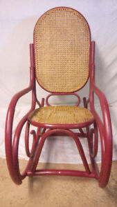 VERY ORNATE DUSTY ROSE BENTWOOD & CANE ROCKING CHAIR