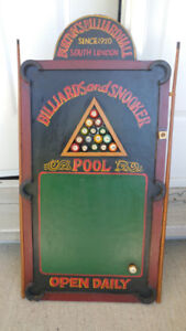 Wood pool table, wall hanging---novelty item