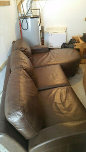 Leather Sectional & Matching Chair