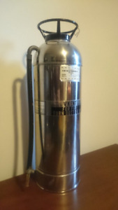 9 x Vintage Antique stainless steel fire extinguishers