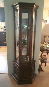 "Curio cabinet - glass shelves, approx. 70"" X 23"" X 10"""