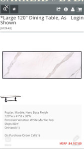 """Marble table 120"""" long 40 """"wide"""