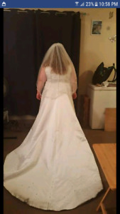 Plus size ball gown white w veil and blusher