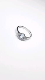 Diaspore 925 Sterling silver Blue Topaz ring sizeQ(8)