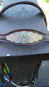 Combo Leather Breast Collar with Bridle w/silver Kitchener / Waterloo Kitchener Area image 4