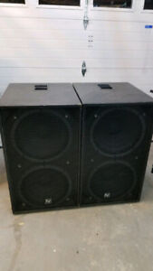 "Double 18"" Subwoofers (pair) RCF Drivers, 1600W Program"