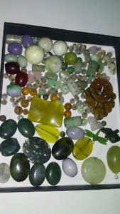Real jade beads and carved stone