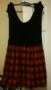 Plaid Black & Red Dress - Cut Out Design at the tummy- For Sale""