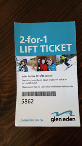 2 for 1 left ticket for Glen Eden ski /snowboard