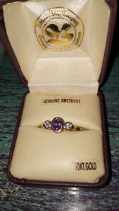 NEW 10k gold genuine amethyst ring size 7