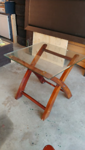 Square Glass table Top End table w/ wood legs