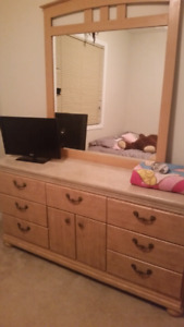 Dresser with mirror and end table