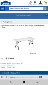 Table folding white utility