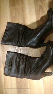 Leather brown winter boots