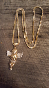 Gold Franco Link with Diamond Wings Necklace