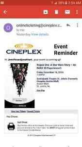 Star wars ticket for tonight
