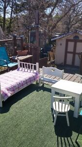 Toddler bed, bench and table set