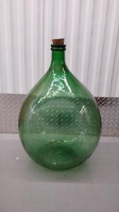 Vintage Large Green Glass Bottle Vase Demi John Carboy