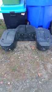 ATV BACK REST, STORAGE COMPARTMENT;