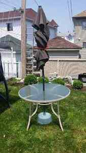 Patio Table with umbrella and stand