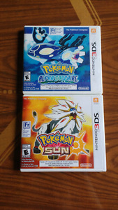 Pokemon Sun, Platinum, and Y for sale.