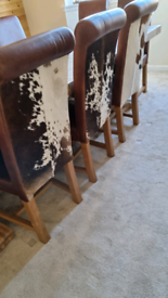 6 cow hide leather & oak dining chairs