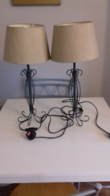 Table lamps pair of with metal ornate base and shades