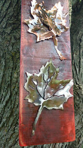 Rustic plasma cut copper and steel maple leafs on maple boards Cornwall Ontario image 10
