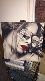 Large canvas glitter lips