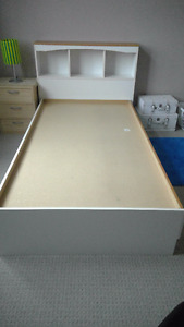 Solid wooden white light oak captain bed twin size