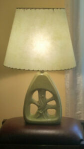 Vintage pottery lamp light green. Beautiful.