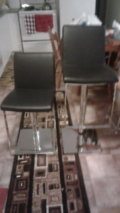 Two Black faux leather swivel Bar Stools