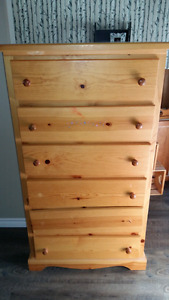 Solid pine 6 drawer dresser chest of drawers