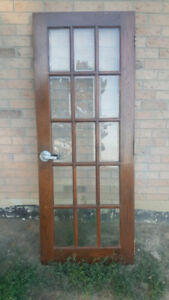 Exterior Entry French Oak Door Beveled Glass Heavy Pane 30 X 78