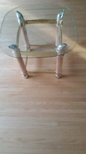 "Brass and Tempered Glass End Table , 25"" W  X 25"" L X 20"" High,"