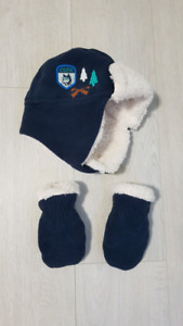 Hat and mitts 0-12mth
