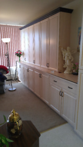 Beautiful Bleached Oak Cabinets with Black Trim