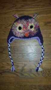Purple Knit Owl Hat