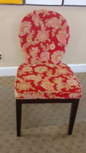 Two Red Patterned Accent Chairs