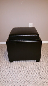 Dark Brown Leather Cube Stool
