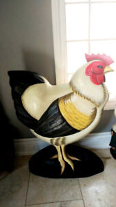 "Vintage Carved Wooden ROOSTER 27"" Tall art kitchen folk decor"