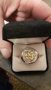 Amazing Nugget and Diamond Mans Ring