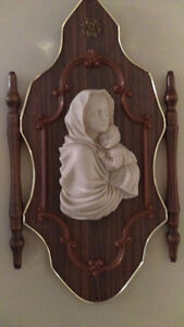 Antique Alabaster Marble Sculpture Madonna and Child Carved WOO