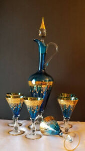 Italian Murano 24kt.Gold Vintage Blue Blown Glass Decanter Set