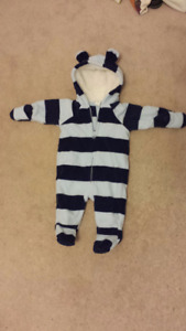 NEW Fleece Bear One-Piece Light Blue with strips Size 0-3 months