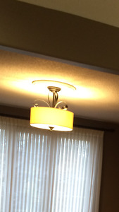 Linen and Metal Dining/kitchen light fixture