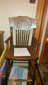 Antique vintage wooden  high chair baby high chair