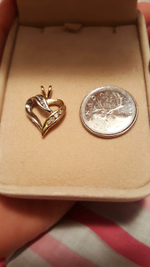 Gold heart diamond pendant for necklace- two tone white, yellow