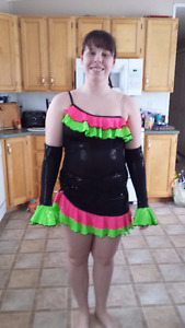 Black, Pink and Green Sequin Dance Costume