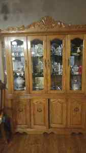 2 Piece Oak Vintage China Cabinet With 6 Chairs For Sale Kawartha Lakes Peterborough Area image 1